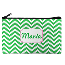 Custom Design Your Own Green Chevron Makeup Bag 5