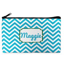 Custom Design Your Own Turquoise Chevron Makeup Bag 5