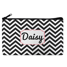 Custom Design Your Own Black Chevron Makeup Bag 5