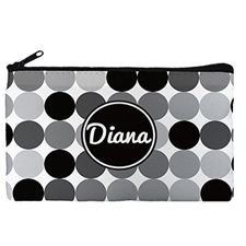 Custom Design Your Own Black Grey Large Dots Makeup Bag 5