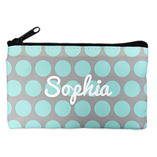 Custom Design Your Own Aqua Grey Large Dots Makeup Bag 5