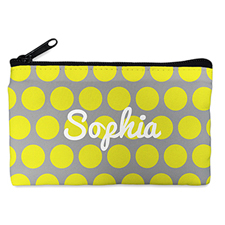 Custom Design Your Own Yellow Grey Large Dots Makeup Bag 5