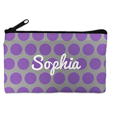 Custom Design Your Own Purple Grey Large Dots Makeup Bag 5