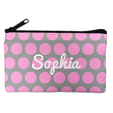 Custom Design Your Own Pink Grey Large Dots Makeup Bag 5