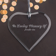 Personalised Engraved In Loving Memory Heart Shaped Ornament