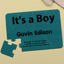 It's A Boy Personalised Birth Announcement Puzzle Card