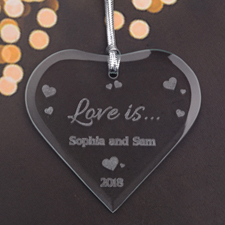 Personalised Engraved Fun Hearts Heart Shaped Ornament