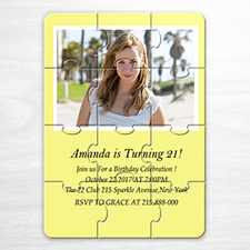 Personalised Yellow Photo Puzzle Puzzle Invite