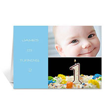 Personalised Elegant Collage Blue Birthday Greetings Greeting Cards