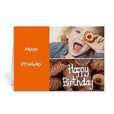 Personalised Elegant Collage Orange Birthday Greetings Greeting Cards