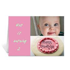 Personalised Elegant Collage Pink Birthday Greetings Greeting Cards