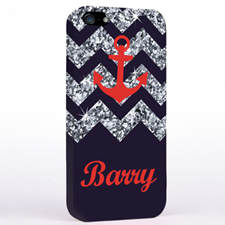 Personalised Grey Glitter Chevron Red Anchor iPhone Case