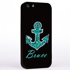 Personalised Glitter Turquoise Anchor iPhone Case