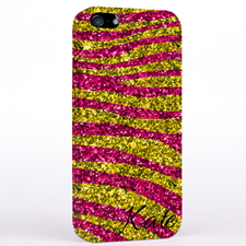Personalised Glitter Fuchsia Animal Print iPhone Case