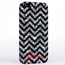 Personalised Glitter Silver Chevron iPhone Case