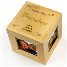 Engraved Super Star Wood Photo Cube