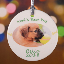 Personalised World's Best Dog Round Porcelain Ornament