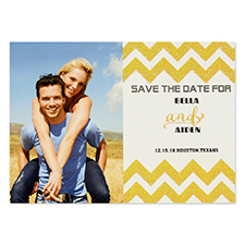 Personalised Gold Glitter Chevron Save The Date Invitation Cards