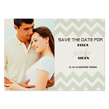 Personalised Silver Glitter Chevron Save The Date Invitation Cards