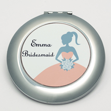 Personalised Bridesmaids, Carol Round Make Up Mirror