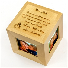 Engraved Dear mum Wood Photo Cube