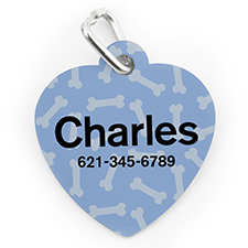 Custom Printed Blue Bone Pattern, Heart Shape Dog Or Cat Tag