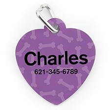 Custom Printed Lavender Bone Pattern, Heart Shape Dog Or Cat Tag