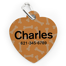 Custom Printed Orange Bone Pattern, Heart Shape Dog Or Cat Tag