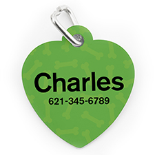 Custom Printed Green Bone Pattern, Heart Shape Dog Or Cat Tag