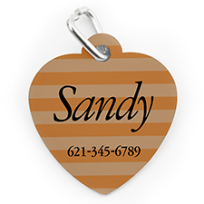 Custom Printed Orange Stripe, Heart Shape Dog Or Cat Tag
