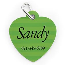 Custom Printed Green Stripe, Heart Shape Dog Or Cat Tag