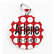 Custom Printed Red Dots, Round Shape Dog Or Cat Tag