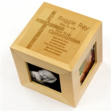 Engraved First Holly Communion Wood Photo Cube