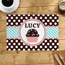 Personalised Love Cupcake Blue Placemats