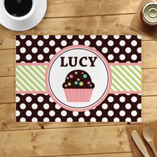 Personalised Love Cupcake Lime Placemats