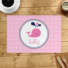 Personalised Pink Whale Placemats