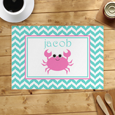 Personalised Chevron Pink Crab Placemats