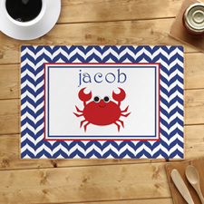 Personalised Chevron Red Crab Placemats