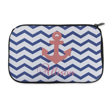 Personalised Neoprene Navy Chevron Carol Anchor Cosmetic Bag 6