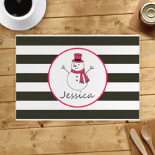 Personalised Snowman, Girl Placemats