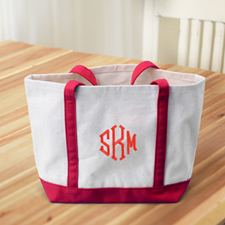 Monogrammed Personalised Red Canvas Tote Bag (Medium)