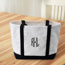 Monogrammed Personalised Black Canvas Tote Bag (Medium)