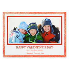 Real Glitter Red Personalised Photo Valentine Card, 5