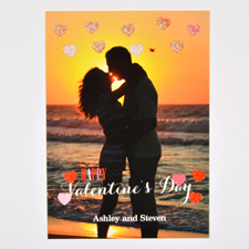 Real Glitter Hearts Personalised Photo Valentine Card, 5