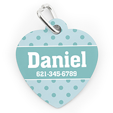 Custom Printed Sky Small Polka Dot, Heart Shaped Dog Or Cat Tag