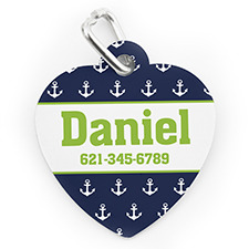 Custom Printed Navy Anchor, Heart Shaped Dog Or Cat Tag