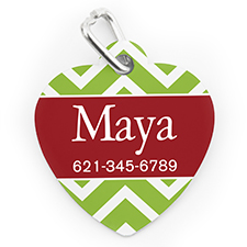 Custom Printed Christmas Chevron, Heart Shaped Dog Or Cat Tag