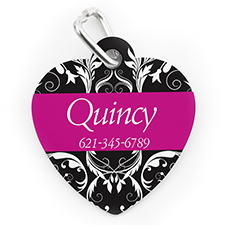 Custom Printed Fuchsia Floral Heart Shaped Dog Or Cat Tag