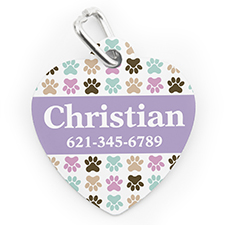 Custom Printed Colourful Paw, Heart Shaped Dog Or Cat Tag