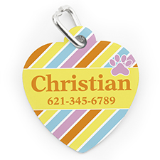 Custom Printed Colourful Stripe Paw, Heart Shaped Dog Or Cat Tag